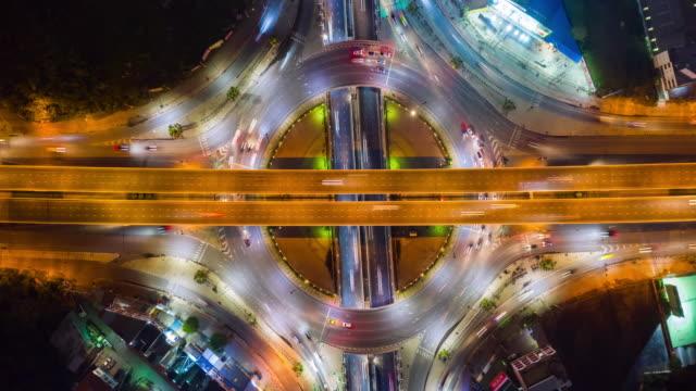 4K Hyperlapse : traffic on freeway interchange - Aerial view of expressway or Highway road junctions