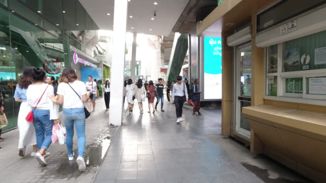 Hyperlapse walking in market in front of shopping mall