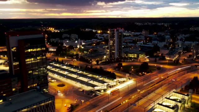 Hyperlapse/Time lapse of traffic taken at night in Espoo, Finland