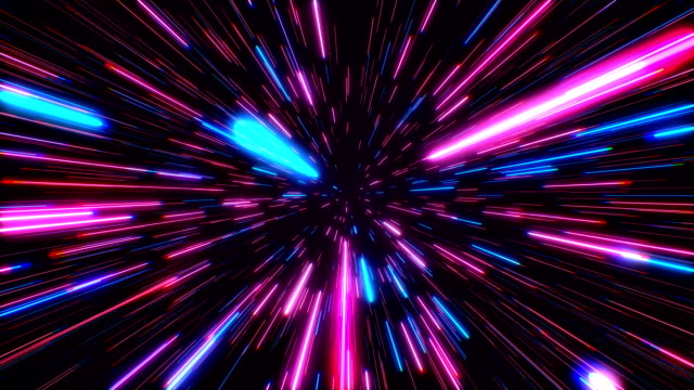 Hyperspace jump through the stars to a distant space seamless loop. Neon rays