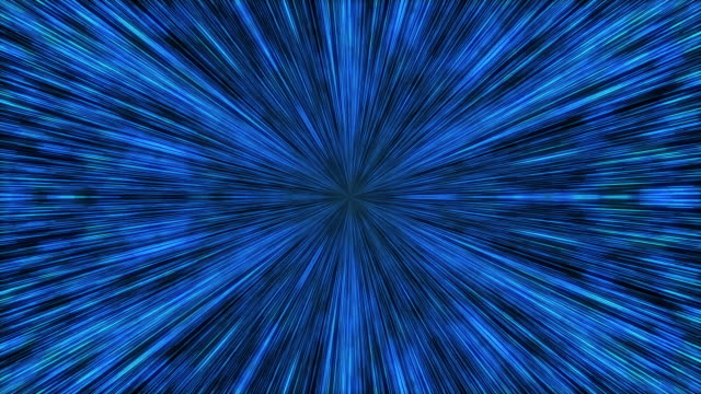 Hyperspace light speed animation background.