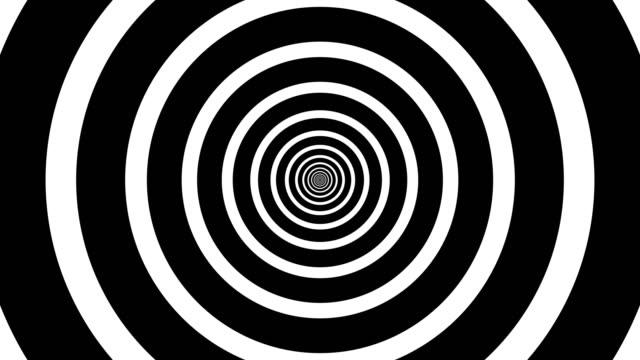 sfondo ipnotico in bianco e nero. forme geometriche. animazione a ciclo astratto e senza soluzione di continuità di cerchi, strisce. visualizzazione ipnotica dell'immagine. illusione ottica - illusione video stock e b–roll