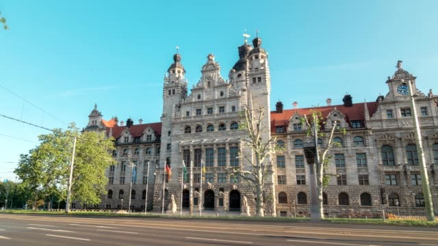 Hyprlapse of The Leipzig New Town Hall Germany Saxony