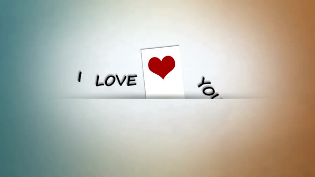 i love you love note with red heart and sentence i love you sentencing stock videos & royalty-free footage