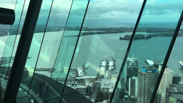 ial view of Auckland downtown and Waitemata Harbour video
