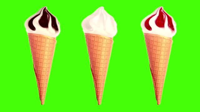 vídeos y material grabado en eventos de stock de helado de crema girando lentamente sobre un fondo verde - galleta dulces