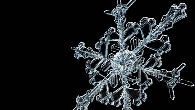 Ice Crystal Transparent snowflake grows 4K. video