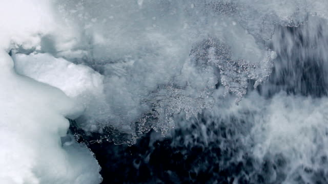Ice crystals in winter. Closeup. Ice background. Icicles with water drops video