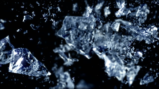Ice cube explosion in slow motion video