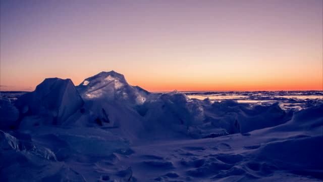 Ice field in Sunset video