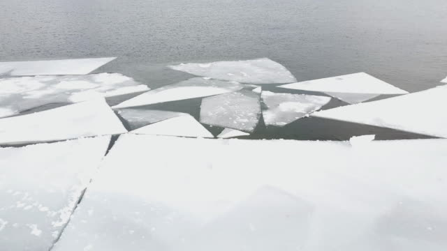 Ice floating on river in spring time. video