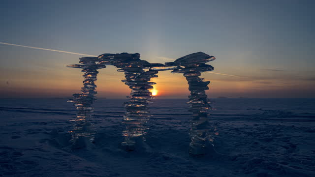 Ice floes on the background of sunset video