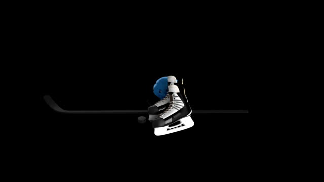 Ice Hockey Equipment rotating loop isolated with luma matte video