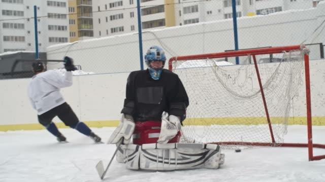 Ice Hockey Player Scoring Goal video