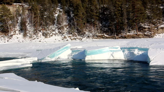 Ice melting of on the river in the early spring, Katun River, Altai, Russia