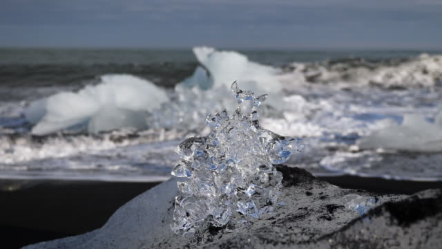 Ice on diamond beach in Iceland - video