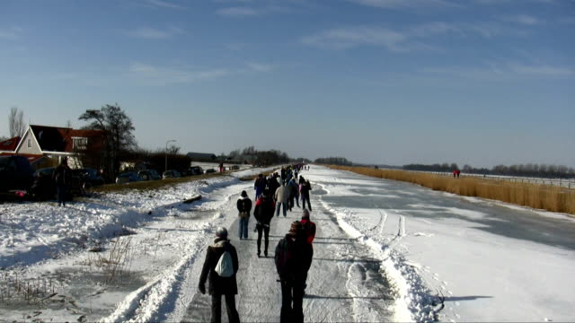 Ice skating in the countryside from Netherlands video