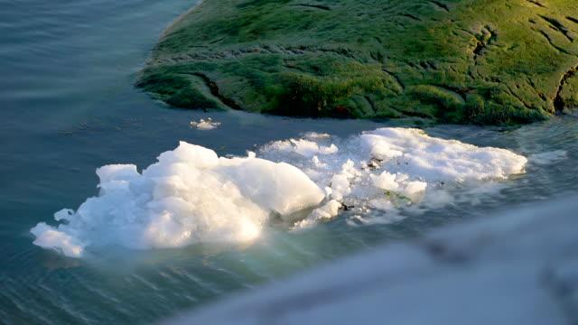 iceberg floating in arctic ocean - ghiaccio galleggiante video stock e b–roll