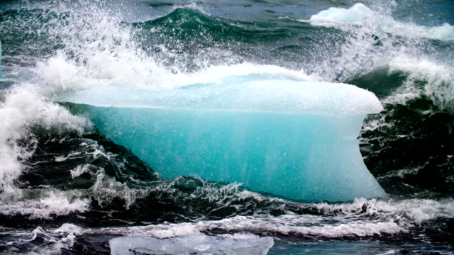 SLOW MOTION : Iceberg in rough sea video