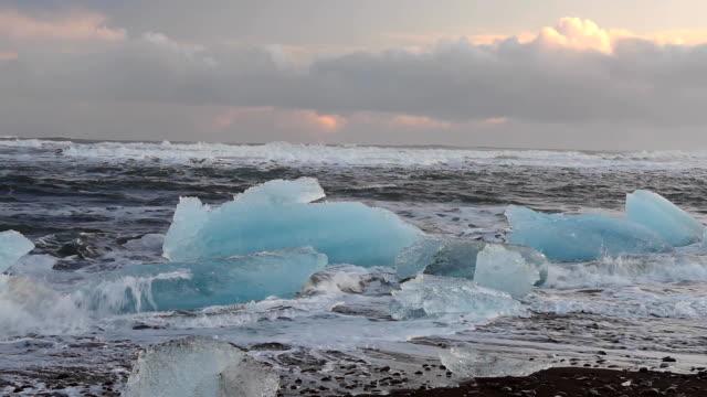 Iceberg on the beach in Iceland. Full HD Video video
