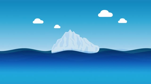 iceberg with clouds - 4K animation