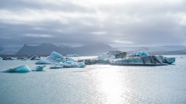 iceberg galleggiavano dalla laguna glaciale di jokulsarlon vista dalla spiaggia islandese di diamond, breidamerkursandur - ghiaccio galleggiante video stock e b–roll