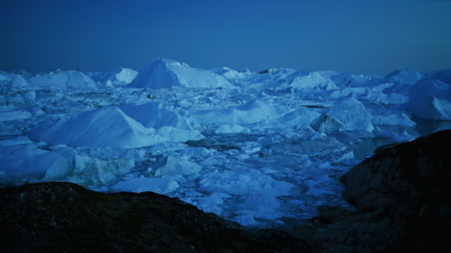 Icebergs floating in Disko bay in Greenland video