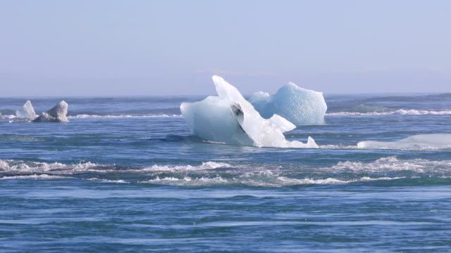 Icebergs floating on the North Atlantic Ocean Icebergs floating on the North Atlantic Ocean near the Jokulsarlon glacial lagoon, Iceland icecap stock videos & royalty-free footage