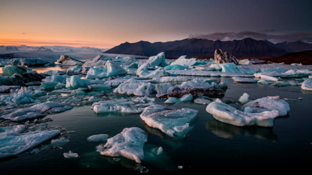 Icebergs in Jokulsarlon glacial lake Iceland video
