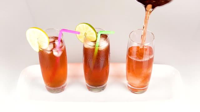 Iced Tea Glasses Pour on White
