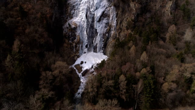 Icefall view up - Aerial 4K video
