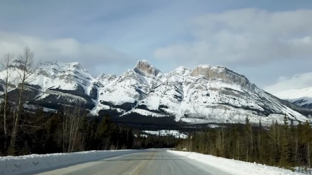 Icefields Parkway Driving Between Banff and Jasper National Park in Canada