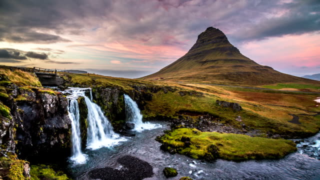 Iceland landscape at sunset, Kirkjufell video