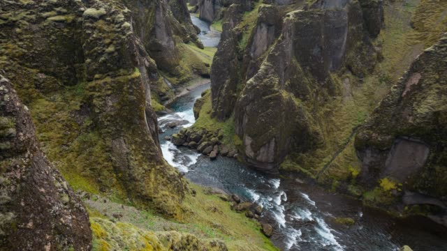 Iceland's canyon Fjadrargljufur, viewed from the tourist footpath