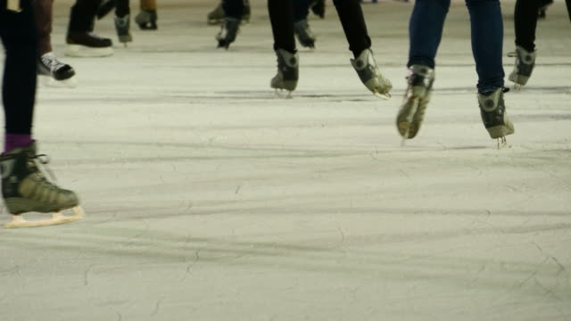 Ice-Skating on Ice Rink in the City. Winter Sport, Ice, Fun, Christmas Tree video