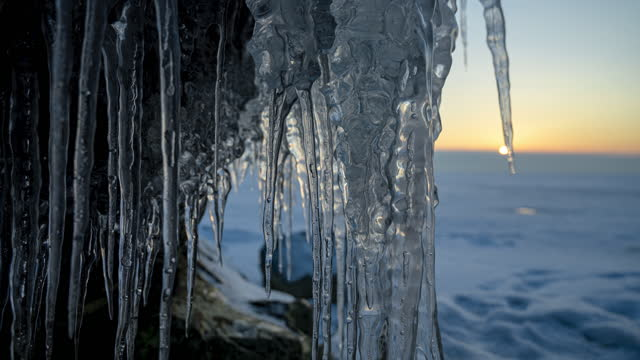 Icicles against the sunset. video