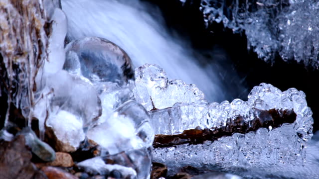 Icicles in the river video