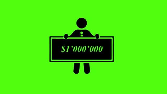 icon-geschäftsmann ist milliardär auf grün-leinwand-hintergrund - billionär stock-videos und b-roll-filmmaterial