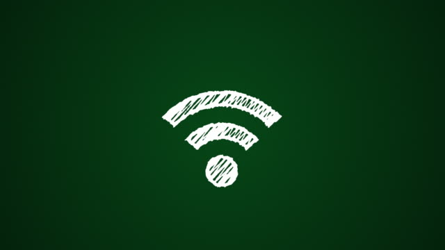 icon connecting to wi-fi point painted with chalk on green background, hand drawn animation 4K video