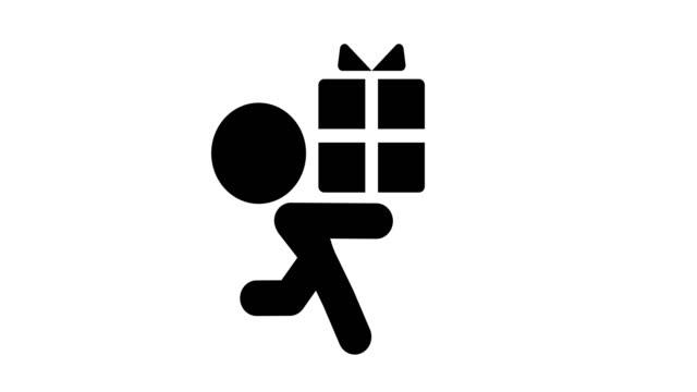 ikona dostarczająca prezent - technika ilustracji filmów i materiałów b-roll