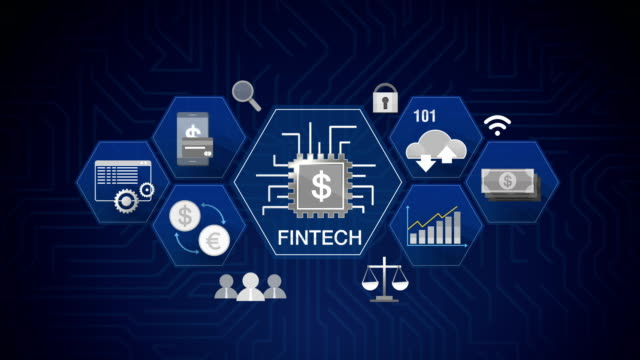 Icon Fin-tech, Financial technology and various information icon. 4K size movie. Robot, cyborg touching connected world people, using communication technology 4K size. financial building stock videos & royalty-free footage