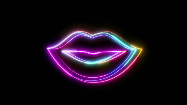 Icon in the form of female lips made in neon style.