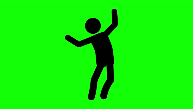 Icon Man Brag Figure Animation. Character 2D Cartoon Animations. Pictogram People Unique Silhouette Vector Icon Set. Animated Stickman Poses on Transparent Background. Moving Activity Variation Green Screen Chroma Key person icon stock videos & royalty-free footage
