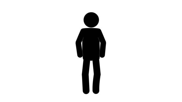 vídeos y material grabado en eventos de stock de animación de la figura de aliento del hombre del icono. animaciones de dibujos animados de personajes 2d. pictogram personas único silueta vector icono set. poses de stickman animado en fondo transparente. variación de la actividad móvil - pegajoso