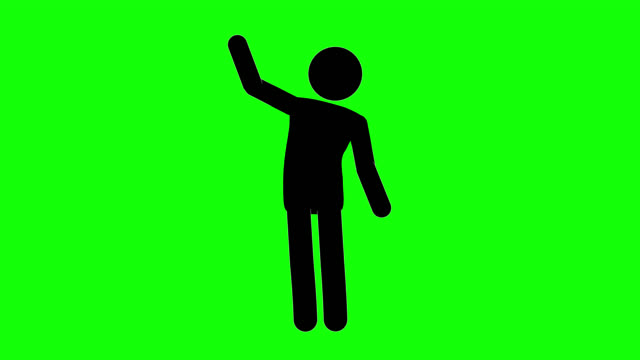 icon man bye figure animation. character 2d cartoon animations. pictogram people unique silhouette vector icon set. animated stickman poses on transparent background. moving activity variation - people icon video stock e b–roll