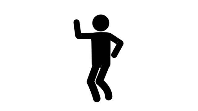 vídeos y material grabado en eventos de stock de icon man describe la animación de figuras. animaciones de dibujos animados de personajes 2d. pictogram personas único silueta vector icono set. poses de stickman animado en fondo transparente. variación de la actividad móvil - pegajoso