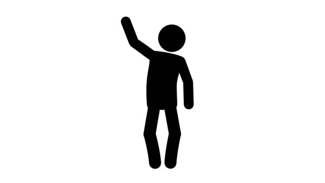 Icon Man Figure Over Here Animation Of Front View. Character 2D Cartoon Animations. Pictogram People Unique Silhouette Vector Icon Set. Animated Poses on Transparent Background. Moving Activity Variation