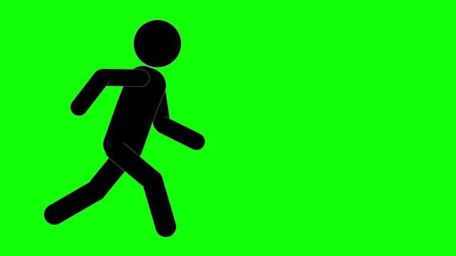 icon man figur ausführen und stoppen animation. charakter 2d cartoon animationen. piktogramm menschen einzigartige silhouette vektor-symbol-set. animierte posen auf transparentem hintergrund. verschieben der aktivitätsvariation - emblem stock-videos und b-roll-filmmaterial
