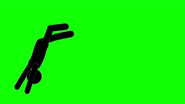 icon man figur laufende und rollende animation. charakter 2d cartoon animationen. piktogramm menschen einzigartige silhouette vektor-symbol-set. animierte posen auf transparentem hintergrund. verschieben der aktivitätsvariation - rennen körperliche aktivität stock-videos und b-roll-filmmaterial