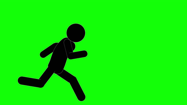 icon man figure running and stopping animation. character 2d cartoon animations. pictogram people unique silhouette vector icon set. animated poses on transparent background. moving activity variation - сбежавший из дома стоковые видео и кадры b-roll